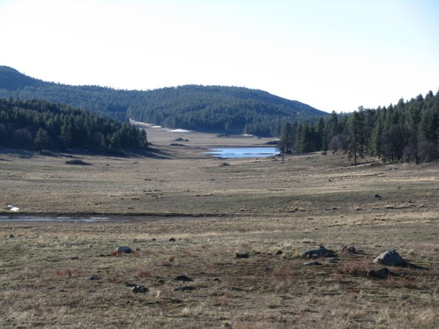 Wide view of Big Laguna Meadow and its seasonal lake