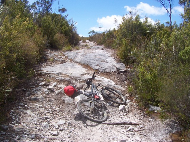 A rocky 4WD trail towards Judbury; progress was slow, but trail markers were common and navigation was simple as a result.