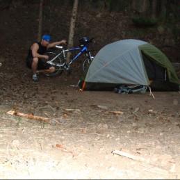 man,bike,tent